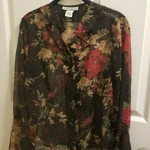 Dressbarn black floral blouse sz small (k001)